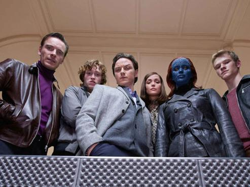 Fassbender (left), Caleb Landry Jones, James McAvoy, Rose Byrne, Jennifer Lawrence and Lucas Till are all mutants — but not always on the same side.