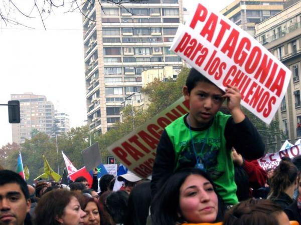Protesters in Santiago rally against a proposed dam project in Patagonia. Government officials say the country needs more energy, in large part to support a growing copper mining industry.