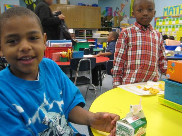 Students at Shoesmith Elementary on Chicago's south side. The school is 90 percent  low-income. School officials say fewer students are tardy since  Shoesmith began serving breakfast.