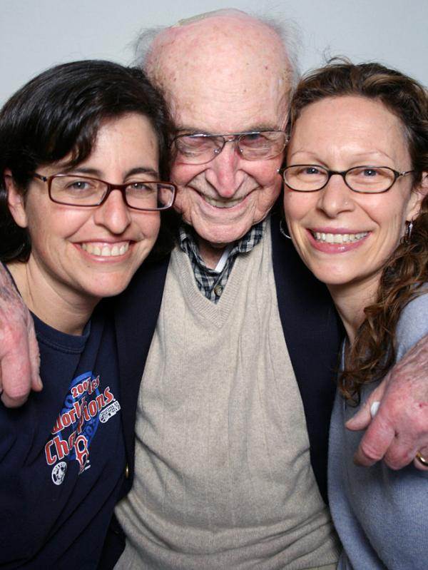 Martin Levin talked with his granddaughters Zoe Crowe (left) and Jennifer Goebel at StoryCorps in Atlanta.