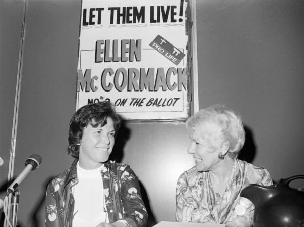 Ellen McCormack, left