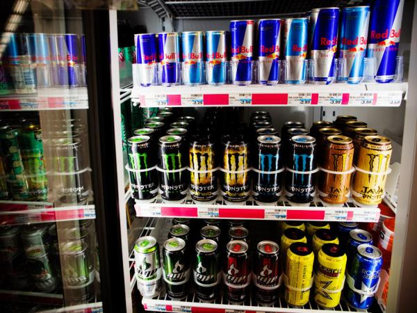 An assortment of energy drinks at a drug store in Washington, D.C. Psychologists say they don't know know enough about how caffeinated products like these affect teens and kids.