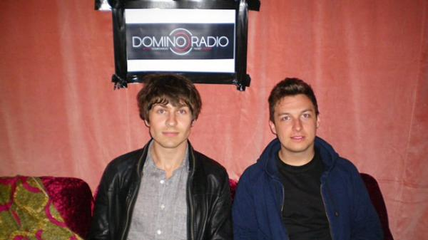 Alex Turner and Matt Helders of Arctic Monkeys at the Domino Radio studio on Monday.