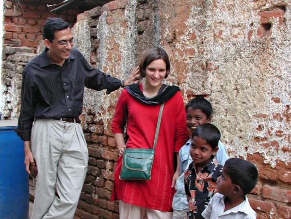 Abhijit Banerjee and Esther Duflo in Hyderabad, India.