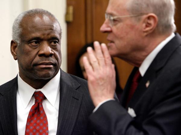 "Justice Clarence Thomas has made it clear that he doesn't like the ""back and forth"" of questioning during an oral argument. Justice Anthony Kennedy (right), on the other hand, says he loves the give and take. ""Many judges who have been trial lawyers feel that way,"" Kennedy says. ""We wish we were down there."""