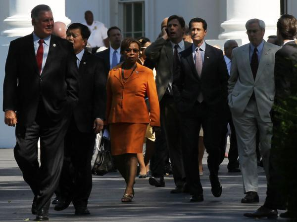 Members of the House Democratic Caucus, including Rep. Anthony Weiner (D-NY), after meeting with President Obama at the White House on June 2.