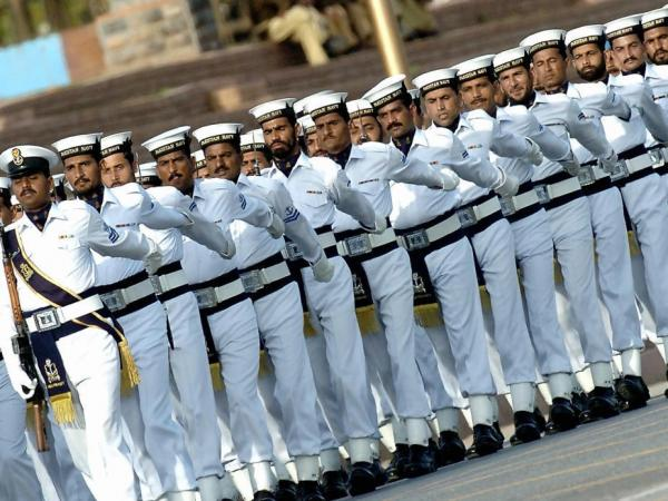 Pakistani sailors parade during a rehearsal for a National Day ceremony in Islamabad in 2005. Before a militant raid on a naval base in Karachi last month, a number of navy personnel were detained on suspicion of links to al-Qaida, security officials say.