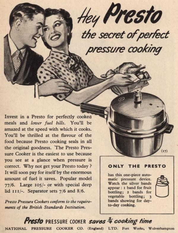 A happy young couple makes good use of their Presto Pressure Cooker in this 1952 ad.