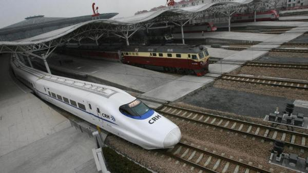 The CRH2 China Railways high-speed bullet train, departing a Shanghai station in February 2007, is capable of speeds of more than 150 mph.