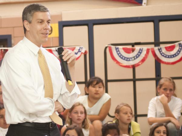 "Education Secretary Arne Duncan speaks during an  ""Ask, Listen, Learn: Kids And Alcohol Don't Mix"" Event at Arlington Science Focus Elementary School on April 20, 2010 in Arlington, Virginia. Secretary Duncan joins host Neal Conan and a studio audience of students and teachers in today's second hour."