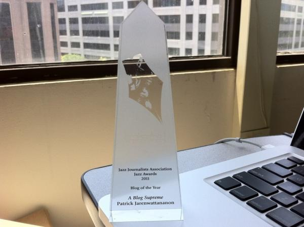 JJA Jazz Award winners take home this lovely translucent mini-obelisk.