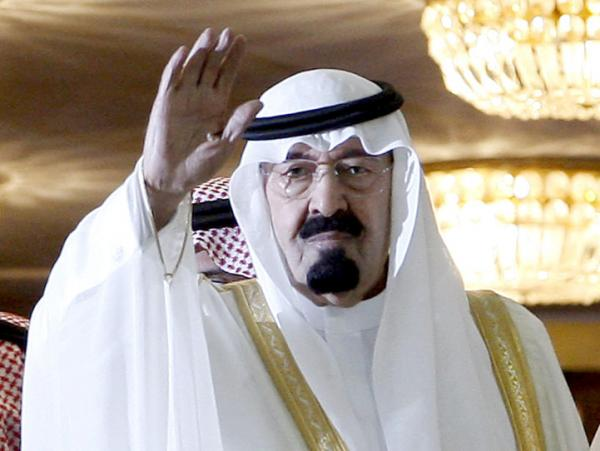 Saudi King Abdullah bin Abdul Aziz al-Saud arrives at the King's Cup soccer match in Riyadh on May 7, 2010.