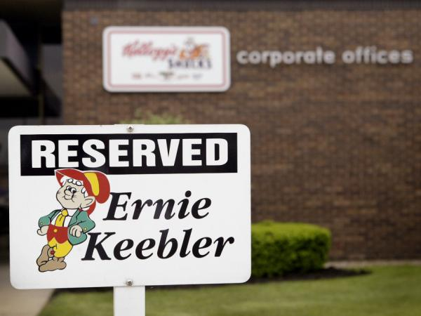 A sign marks the parking space for head elf Ernie Keebler at the Keebler corporate offices in Illinois back in 2004. Kellogg bought Keebler in 2001.