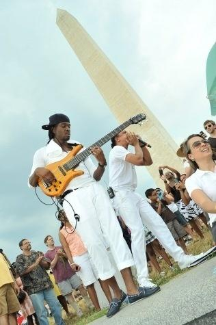 Frederic Yonnet (right) and his bass player at the 2011 DC Jazz Festival's concert on the National Mall.