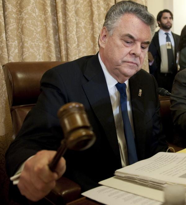 U.S. Representative Peter King of New York, Chairman of the Committee on Homeland Security, uses his gavel to begin the first in a series of hearings on radicalization in the American Muslim community on Capitol Hill in Washington, DC, March 10, 2011. The hearings have gotten heat from civil liberties groups who say there is not enough evidence.