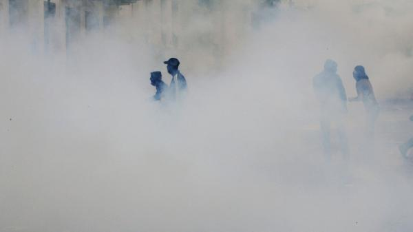 A cloud of tear gas surrounded demonstrators in Athens earlier today (June 15, 2011).