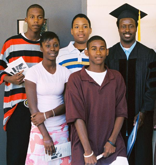 Bobby Evans Jr., graduated from San Quentin's Prison University Project 5 years ago. Evans is shown here on graduation day with (back row, from left) son DeMario Porter, nephew Kelsey Evans, (front row, left) daughter Angelique Evans and son Preston Porter.