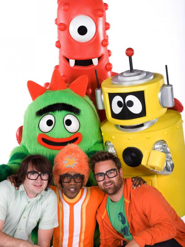 Scott Schultz and Christian Jacobs (bottom left and right) pose with characters from the show.