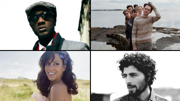 Clockwise from top left: Aloe Blacc, Beirut, José González, Bebel Gilberto.