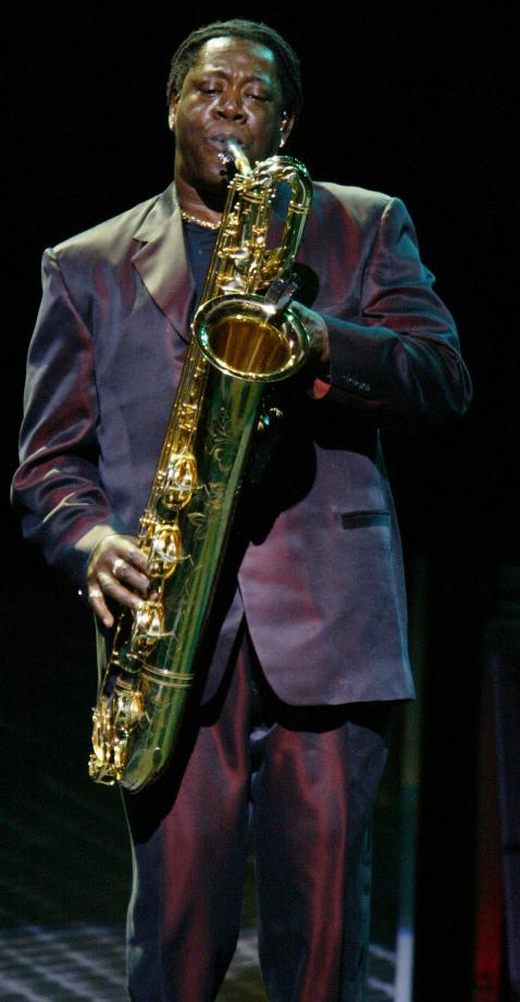Clarence Clemons during a performance on Aug. 7, 2002, in New Jersey.