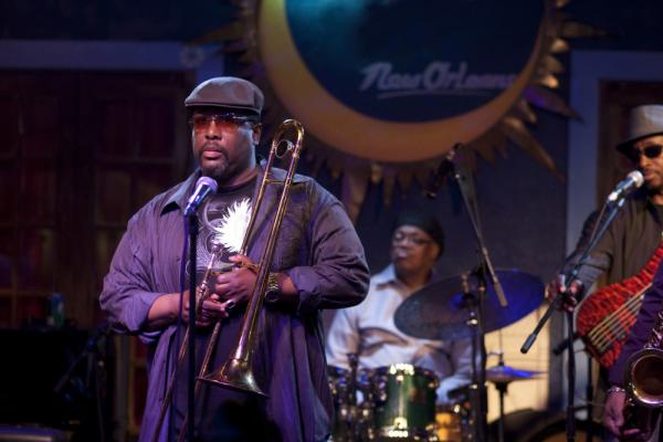 Antoine Batiste (Wendell Pierce) has a moment during his band's set at the Blue Nile in <em>Treme</em>.