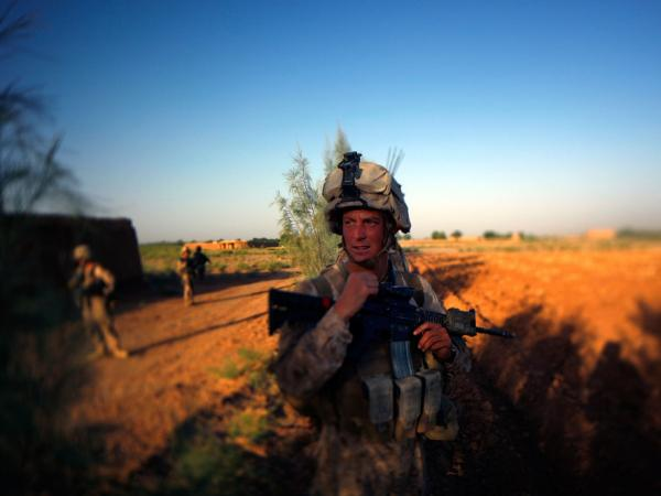 Darryl St. George, a Navy Corpsman with Weapons Co. 2/8 Marines, during a foot patrol this month in Helmand Province, Afghanistan.