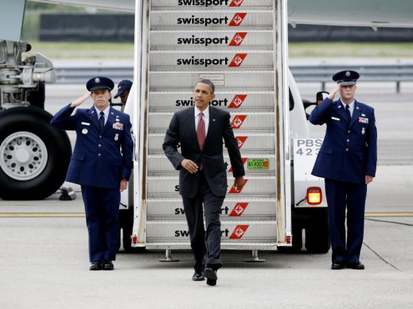 President Barack Obama arrives at JFK International Airport in New York Thursday to deliver a speech at the LGBT Gala dinner in Manhattan.