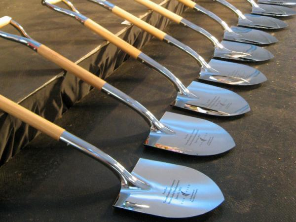Shovels stand at the ready for the groundbreaking ceremony.