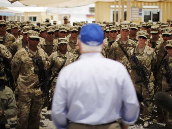 Secretary of Defense Robert Gates speaks to troops in Kandahar province, Afghanistan.