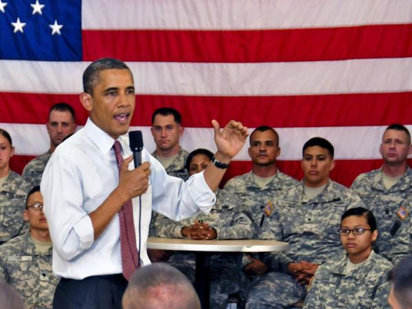 President Barack Obama speaks to about 150 soldiers during his visit to Fort Drum, New York. The president thanked the soldiers one day after announcing a drawdown of troops from Afghanistan during a televised address to the nation. The soldiers, assigned to the 10th Mountain Division's 1st Brigade Combat Team, were among the first to deploy to Afghanistan following the attacks on 9/11.