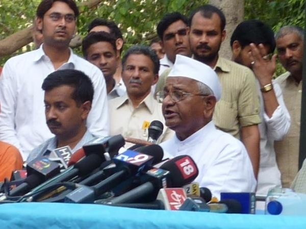 Anti-corruption activist Anna Hazare addresses a press conference.