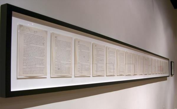 "Though most of Mitchell's manuscript was burned after her death, a few chapters survived. The last pages of the book — which Mitchell actually wrote first — are framed on the wall at the Atlanta  History Center. <strong><a href=""http://bit.ly/iteSqY"">Click here for a closer look.</a></strong>"