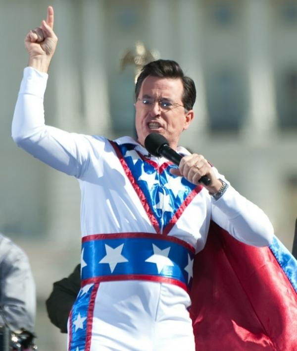 "Stephen Colbert at last October's ""Rally to Restore Sanity And/Or Fear"" on the National Mall in Washington, D.C."