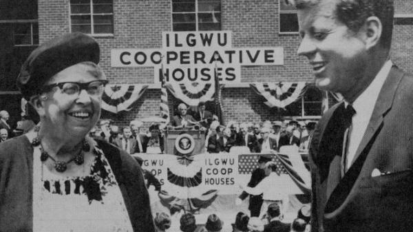 Eleanor Roosevelt and President John F. Kennedy at the opening of an International Ladies' Garment Workers' Union co-op in 1962.