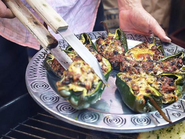 Steven Raichlen takes vegetarian chiles rellenos off the grill.