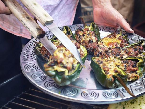 Steven Raichlen takes vegetarian chiles rellenos off the grill.