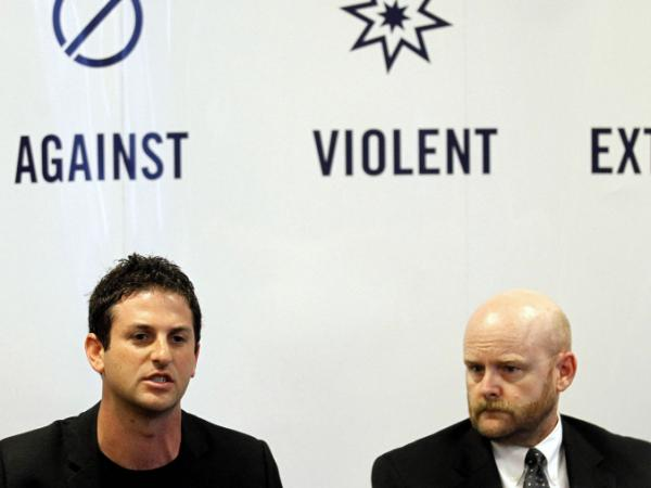 Google's Jared Cohen, left, and Jim Lindsay of the Council of Foreign Relations, speak to the media during a news conference at the Summit Against Violent Extremism in Dublin on Monday, June, 27. The event organized by Google, the council on Foreign Relations and the Tribeca Film Festival brought together nearly 90 former members of violent and extremist groups.
