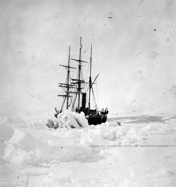 The SS 'Terra Nova' used by British Capt. Robert Falcon Scott on his ill-fated Antarctic expedition to the South Pole is shown, ice-bound, in February 1913.