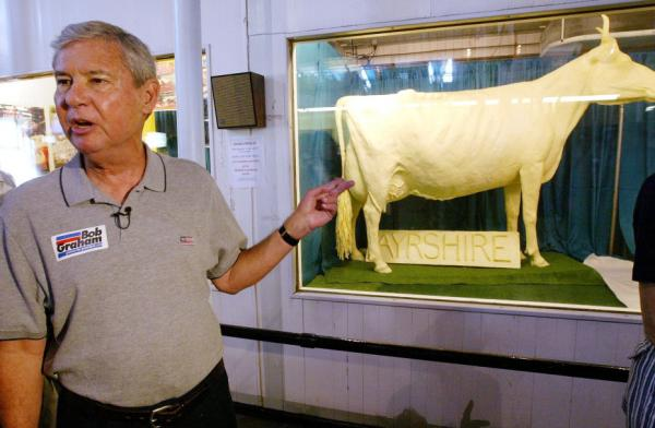 In 2003, Democratic presidential hopeful Bob Graham campaigned near a cow sculpted in butter at the Iowa State Fair.