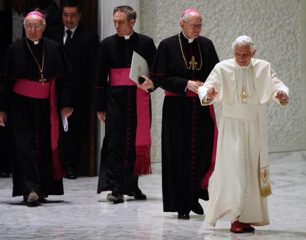 Pope Benedict XVI  arrives for a private audience with the metroplolitan archbishops.