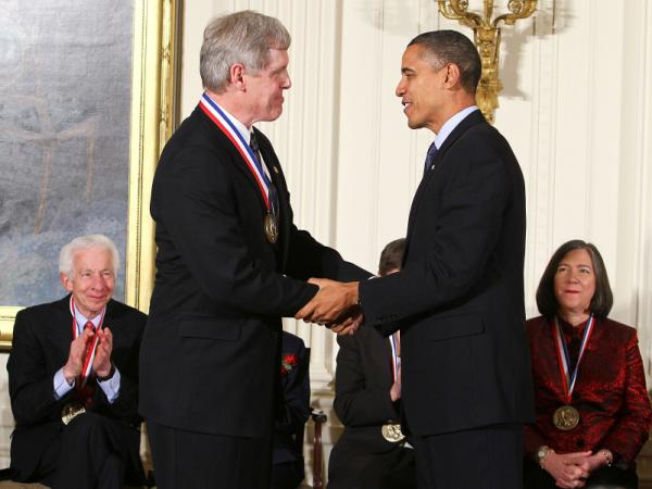 President Barack Obama presents a National Medal of Technology and Innovation to Steven J. Sasson of Eastman Kodak Company during an East Room ceremony on Nov. 17, 2010 at the White House. The president's budget proposal for 2012 offers $900 million to The National Science Foundation, an amount some think is too small.
