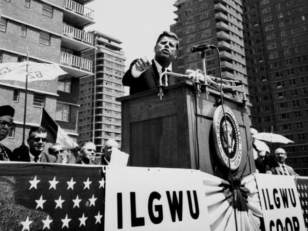 President John F. Kennedy dedicating ILGWU cooperative housing, 1962.