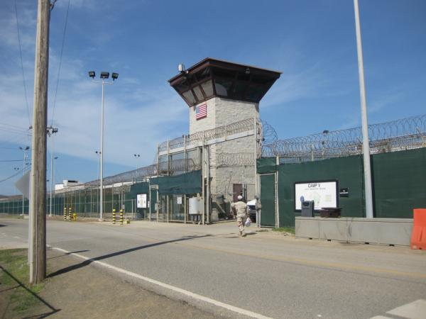 Photo reviewed by US military officials shows Camp VI entrance in Guantanamo where 70 prisoners were detained on Guantanamo October 2010.
