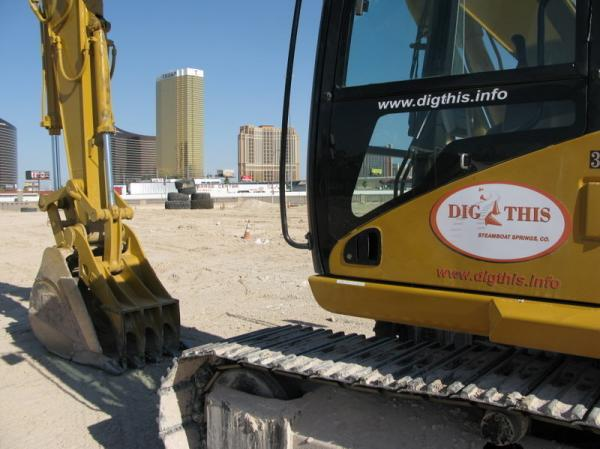 A Caterpillar Excavator at Dig This. Dig This let's park attendees drive and operate construction equipment.
