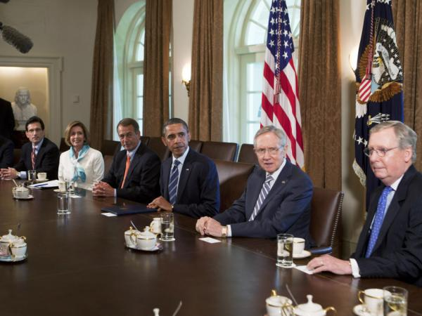 President Barack Obama meets with congressional leaders in the Cabinet Room on July 7.
