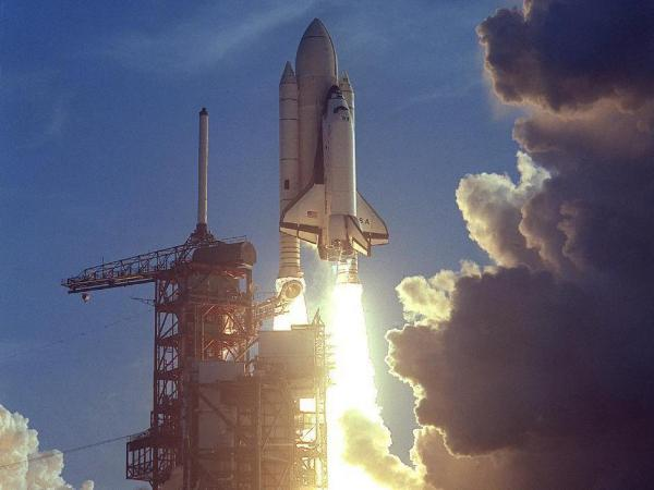 The first space shuttle mission was launched on April 12, 1981.