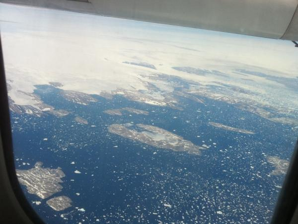 A bird's eye view on the flight from Iceland to Greenland.