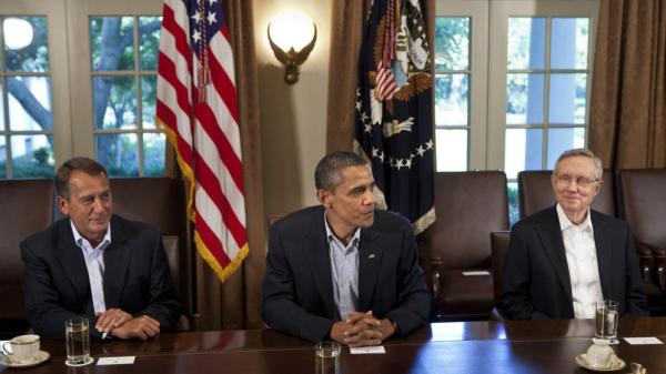 President Obama and congressional leaders, including House Speaker John Boehner (left) and Senate Majority Leader Harry Reid, met in the Cabinet Room of the White House on Sunday.