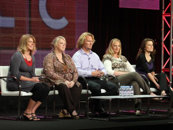 Last summer, members of the Brown family — Meri (from left), Janelle, Kody, Christine and Robyn — spoke to the media as they prepared for the debut of their reality TV show, <em>Sister Wives</em>.