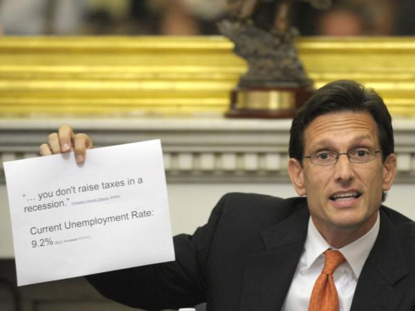 House Majority Leader Eric Cantor of Va. speaks to reporters on Capitol Hill in Washington on Monday as debt talks continued.